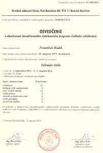 Osvedčenie začínajúci včelár 2013/2014