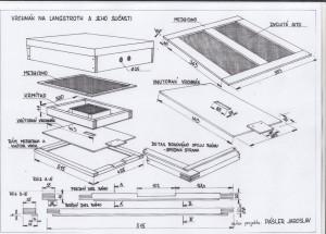 Langstroth vrchnák a jeho súčasti medzidno, vnútorný vrchnák, krmítko