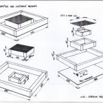 Langstroth - stropné krmítko nad vnútorný vrchnák - nákres